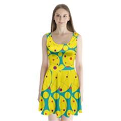 Yellow And Green Decorative Circles Split Back Mini Dress