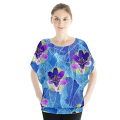 Purple Flowers Batwing Chiffon Blouse