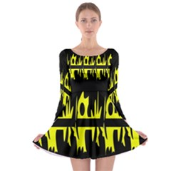 Yellow abstract pattern Long Sleeve Skater Dress
