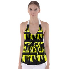 Yellow abstract pattern Babydoll Tankini Top