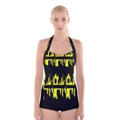 Yellow Abstract Pattern Boyleg Halter Swimsuit