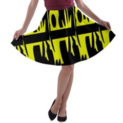 Yellow abstract pattern A-line Skater Skirt
