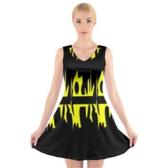 Yellow abstract pattern V-Neck Sleeveless Skater Dress