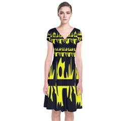 Yellow abstract pattern Short Sleeve Front Wrap Dress