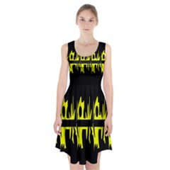 Yellow abstract pattern Racerback Midi Dress