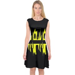 Yellow abstract pattern Capsleeve Midi Dress