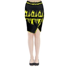 Yellow abstract pattern Midi Wrap Pencil Skirt