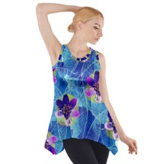 Purple Flowers Side Drop Tank Tunic