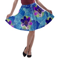Purple Flowers A-line Skater Skirt