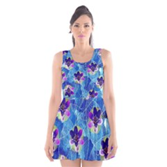 Purple Flowers Scoop Neck Skater Dress
