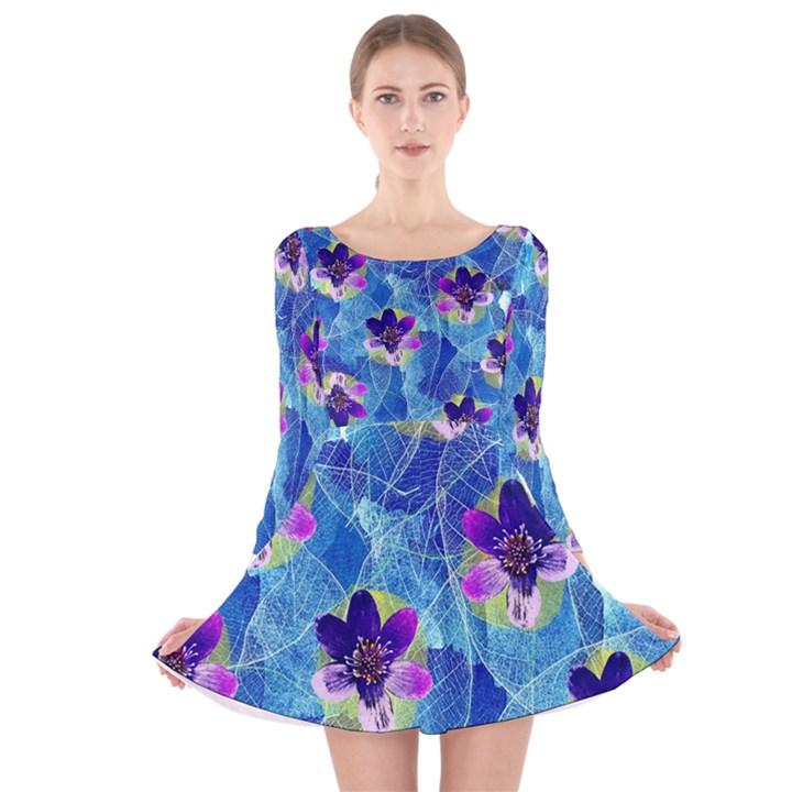 Purple Flowers Long Sleeve Velvet Skater Dress