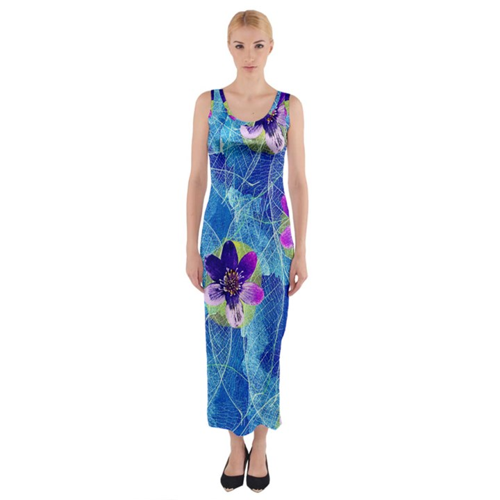 Purple Flowers Fitted Maxi Dress
