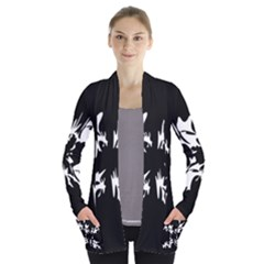 Black and white pattern Women s Open Front Pockets Cardigan(P194)