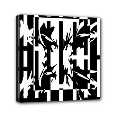 Black and white abstraction Mini Canvas 6  x 6