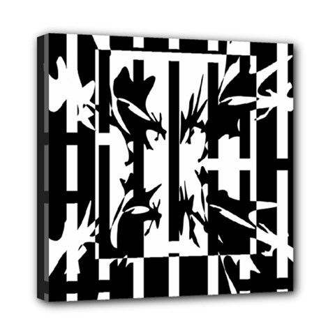 Black and white abstraction Mini Canvas 8  x 8
