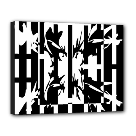 Black and white abstraction Canvas 14  x 11