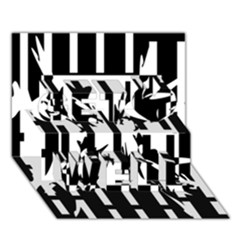Black and white abstraction Get Well 3D Greeting Card (7x5)