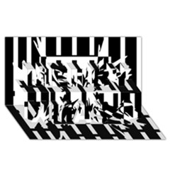 Black and white abstraction Merry Xmas 3D Greeting Card (8x4)