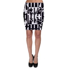Black and white abstraction Bodycon Skirt