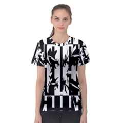 Black and white abstraction Women s Sport Mesh Tee