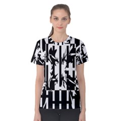 Black And White Abstraction Women s Cotton Tee