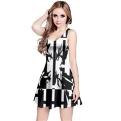 Black and white abstraction Reversible Sleeveless Dress