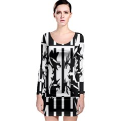 Black and white abstraction Long Sleeve Bodycon Dress