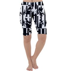 Black and white abstraction Cropped Leggings