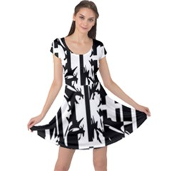Black and white abstraction Cap Sleeve Dresses