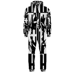 Black and white abstraction Hooded Jumpsuit (Men)