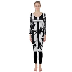 Black and white abstraction Long Sleeve Catsuit
