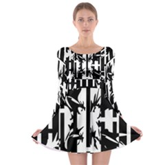 Black and white abstraction Long Sleeve Skater Dress