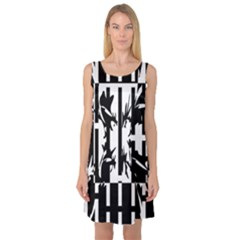 Black and white abstraction Sleeveless Satin Nightdress