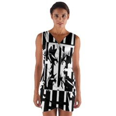 Black and white abstraction Wrap Front Bodycon Dress