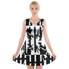 Black and white abstraction V-Neck Sleeveless Skater Dress
