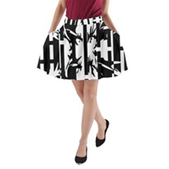 Black and white abstraction A-Line Pocket Skirt