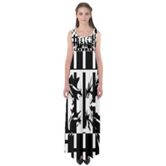 Black and white abstraction Empire Waist Maxi Dress