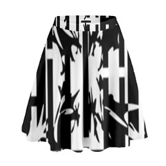 Black and white abstraction High Waist Skirt