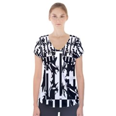 Black and white abstraction Short Sleeve Front Detail Top