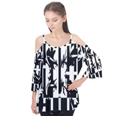 Black And White Abstraction Flutter Tees