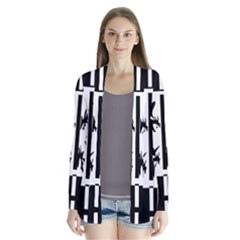Black and white abstraction Drape Collar Cardigan