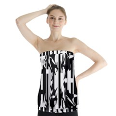 Black and white abstraction Strapless Top