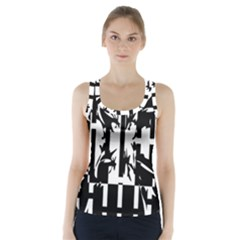 Black and white abstraction Racer Back Sports Top