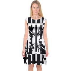 Black and white abstraction Capsleeve Midi Dress