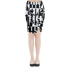 Black and white abstraction Midi Wrap Pencil Skirt