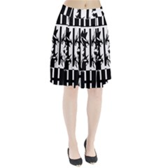 Black And White Abstraction Pleated Skirt
