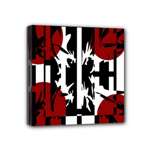 Red, black and white elegant design Mini Canvas 4  x 4