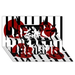 Red, black and white elegant design Best Friends 3D Greeting Card (8x4)