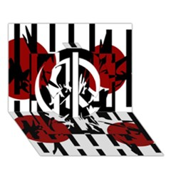 Red, black and white elegant design Peace Sign 3D Greeting Card (7x5)