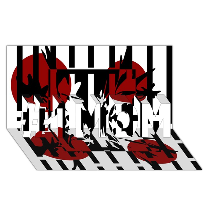 Red, black and white elegant design #1 MOM 3D Greeting Cards (8x4)